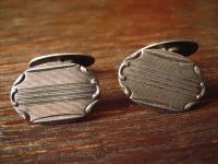 edle Art Deco Manschettenknöpfe 835er Silber feines Muster sehr elegant