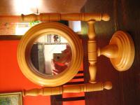 reizender Tischspiegel Kosmetikspiegel Spiegelaufsatz helles Holz Handarbeit