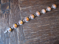 prächtiges Art Deco Armband 835er Silber 9 x Carneol aufwändig gefasst 19, 5 cm