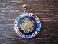traumhaft schöner Sternzeichen Anhänger Widder feines Muranoglas Millefiori gold