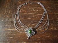 herrliche Kropfkette Trachten Kette Collier Dirndl 835er Silber Jade 5 Erbskette