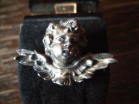reizende antike Brosche Engel Putto Kopf Schutzengel 925er Silber plastisch