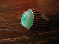 exklusiver Vintage Designer Ring 835er Silber grüner Achat als Auge Unikat RG 62