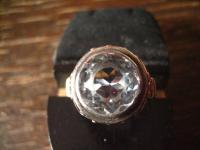 vintage Ring aquamarin Stein 835er Silber tolle Fassung gold 19, 5 mm RG 61