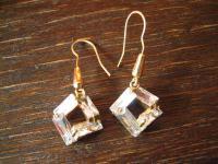 Glitzerspass vom Feinsten ! Kristall Ohrringe Hänger Chandeliers in gold Fassung