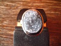 eleganter Designer Ring Onyx Druse 925er Silber schwarz oval Unikat RG 56