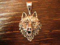 großer starker Wolf Wolfskopf Anhänger massiv 925er Silber plastisch gearbeitet