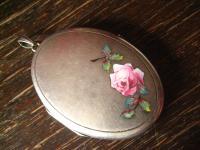 romantisches Jugendstil Medallion Emaille Rose silber Art Nouveau Locket enamel