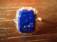 zierlicher Sternzeichen Ring Intaglio Stier Horoskop 830er Silber blau RG 58