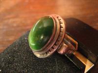 feiner edler Art Deco Ring grüne Jade 830er Silber Handarbeit 17 mm RG 54