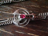 überlange Jugendstil Schieberkette Damen Uhrenkette 142 cm Schieber 800er silber