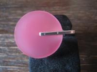 witziger skulpturaler Statement Ring 925er Silber Acryl Scheibe rosa NEU RG 55
