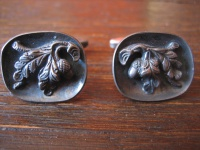 seltene antike Manschettenknöpfe Eichenlaub Eicheln 835er Silber Trachtenschmuck