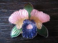 farbenfroh emaillierte große Orchidee Blüte Phalaenopsis vintage Brosche Emaille