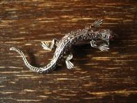 schöne Art Deco Markasit Brosche Eidechse Salamander Gekko 925er Silber 4, 3 cm