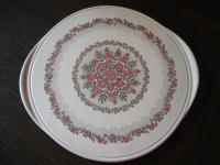 wunderschöne große Kuchenplatte Tortenplatte Blütenpracht Pink Altrosa Keramik