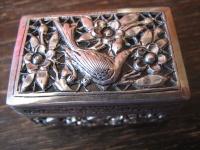 bezaubernde Dose Döschen Schatulle Vogel und Blüten silber Durchbrucharbeiten