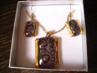 edles Schmuckset Anhänger Ohrringe braun gold NEU Kunsthandwerk Arts & Crafts