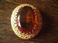 traumhaft schöne Biedermeier Brosche Stein orange gold reich verziert