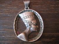 prächtiger Art Deco Anhänger Ägypten Nofretete 835er Silber Designer signiert WB