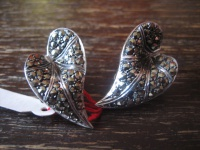 edle Art Deco Markasit Ohrringe Clips Calla Lilie Blatt 925er Silber TOP Zustand