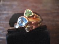 witziger vintage Designer Herz Ring Cocktailring 925er Silber gold RG 57 18 mm