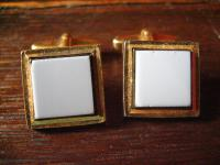 prächtige klassische Vintage Manschettenknöpfe lagenstein achat blau gold 1950