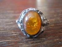 nostalgischer Bernstein Ring 925er Silber Fischland Handarbeit 50er Jahre RG 68