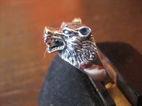 super schöner Ring Wolf Wolfskopf Werwolf plastisch 925er Silber neu RG 64