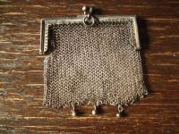 reizende Jugendstil Geldbörse Geldbeutel Börse Kettentasche mit Öse 800er Silber