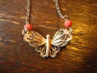 bezauberndes Jugendstil Collier Schmetterling sehr fein und zart 800er Silber