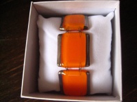 elegantes Armband orange silber 2, 7 cm NEU Kunsthandwerk Arts & Crafts Unikat