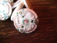 Rarität ! Satz 12 Stück antike Knöpfe Knopf von Hand bemalt Rosen Tracht Dirndl