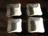 Konvolut 4 x Beilagenschale kleine Schale Schüssel rechteckig weiß goldrand