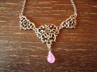 reizvolles Trachten Dirndl Collier im Antik Stil silber rosa Pampel an Erbskette