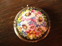 vintage Miniaturmalerei Porzellanmalerei Brosche üppige bunte Blüten Schumann