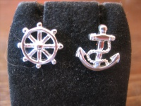 witzige maritime Ohrringe Stecker Ohrstecker 925er Silber neu Anker Steuerrad