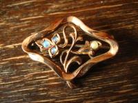 bezaubernde Jugendstil rotgold Brosche mit echtem Opal Opale wunderschöne Form