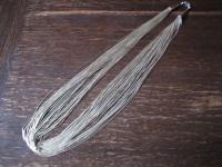 prächtiges ausgefallenes Wasserfall Collier 50 feine Stränge 925er Silber 70 cm
