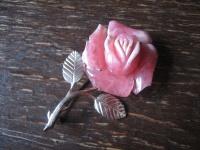 traumhaft schöne Rosen Brosche Rose 925er Silber Steingravur Rosenquarz Unikat