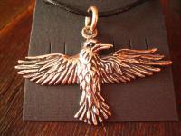 großer wundervoller Anhänger fliegender Rabe Flying Raven 925er Silber neu