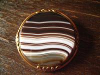 Biedermeier gold Brosche Streifenachat Schottland Kiltnadel Kiltbrosche Pebble