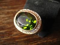 prächtiger vintage Herrenring Turmalin Ring 925er Silber gold Meistermarke RG 57