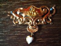 verspieltes Rokoko Collier 750er Gold Putto Engel Emaille Mittelstück Museal