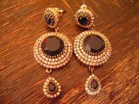 Kronjuwelen gesucht ? opulente Ohrringe Hänger 925er Silber diamant saphir blau