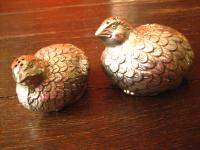 Paar niedliche Salz- und Pfefferstreuer silber pl Vogel Wachtel Huhn Hühnchen
