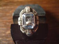 prächtig verzierter Art Deco Ring aquamarin Stein 835er Silber 17, 4 mm RG 54/55