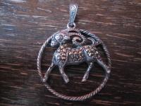großer Art Deco Markasit Anhänger Sternzeichen Widder Horoskop 925er Silber