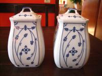 2 Stück antike Vorratsdose Porzellan Indisch Blau Strohblume super schöne Form