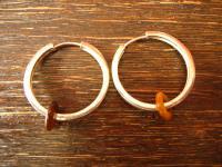 große moderne Ohrringe Creolen 925er Silber Tigerauge Donut auswechselbar